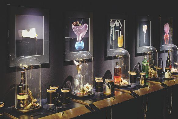 Fragrances and liquors on display at Fragrances Bar, The Ritz-Carlton, Berlin