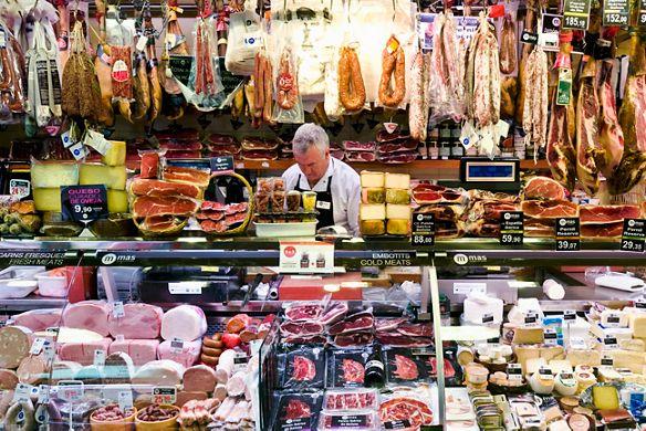 Deli counter at Boqueria, a street market in Barcelona, Spain