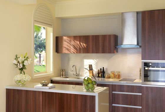 Sun-dappled kitchen with dark wood cabinetry, glossy white counters and contemporary style