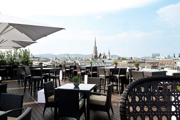 A view of Vienna from Atmosphere Rooftop Bar at The Ritz-Carlton, Vienna