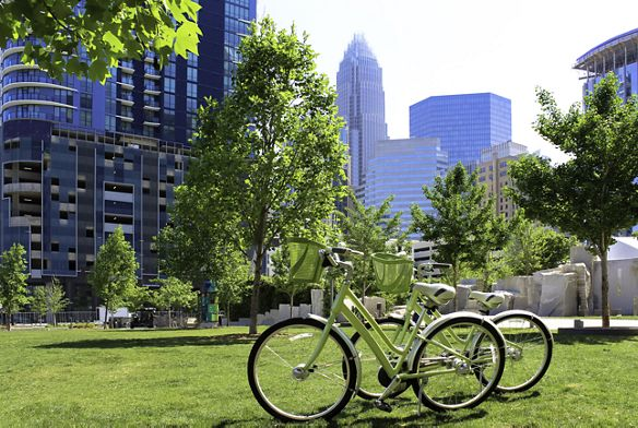 Two bicycles in a green park in Charlotte, NC