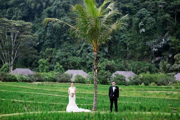 Bride and groom standing in a rice paddy at Mandapa, a Ritz-Carlton Reserve