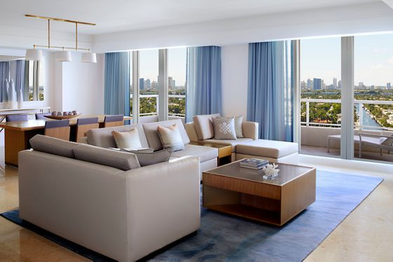 Three-Bedroom Intracoastal View Residential Suite - Living & Dining Room