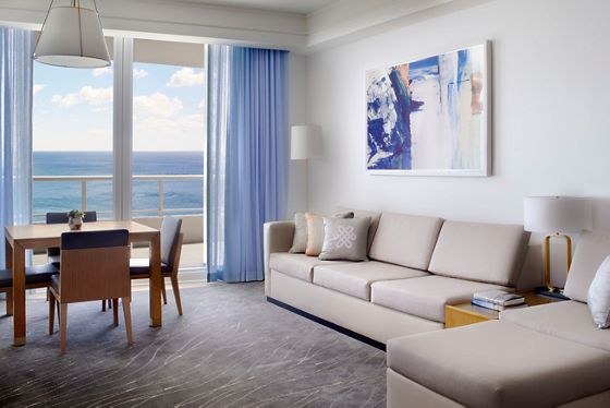 Two-Bedroom Ocean Front Residential Suite - Living & Dining Room