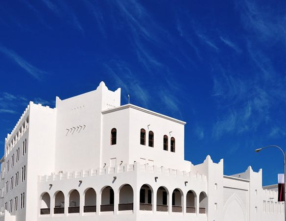 White building containing the Amphitheater of Souq Waqif