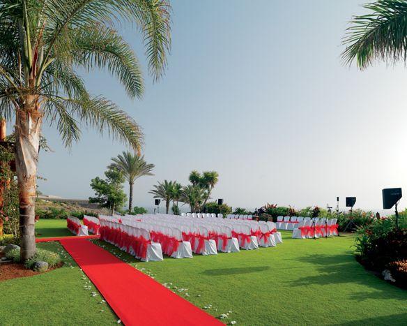 Outdoor wedding arrangement on the resort's lush grounds