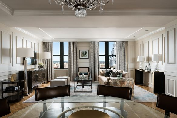 The spacious top-floor suite at Ritz-Carlton, Philadelphia.