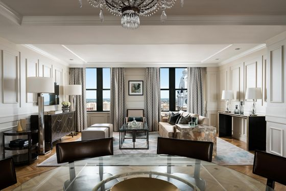 The spacious top-floor suite at Ritz-Carlton, Philadelphia.