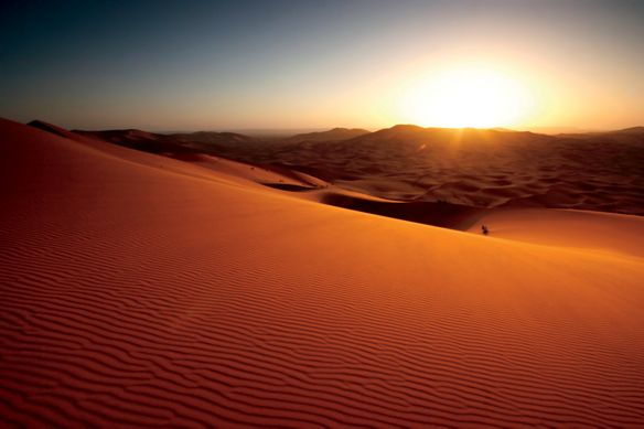 Rippled sand dunes in shades of amber as the sun sinks below the horizon