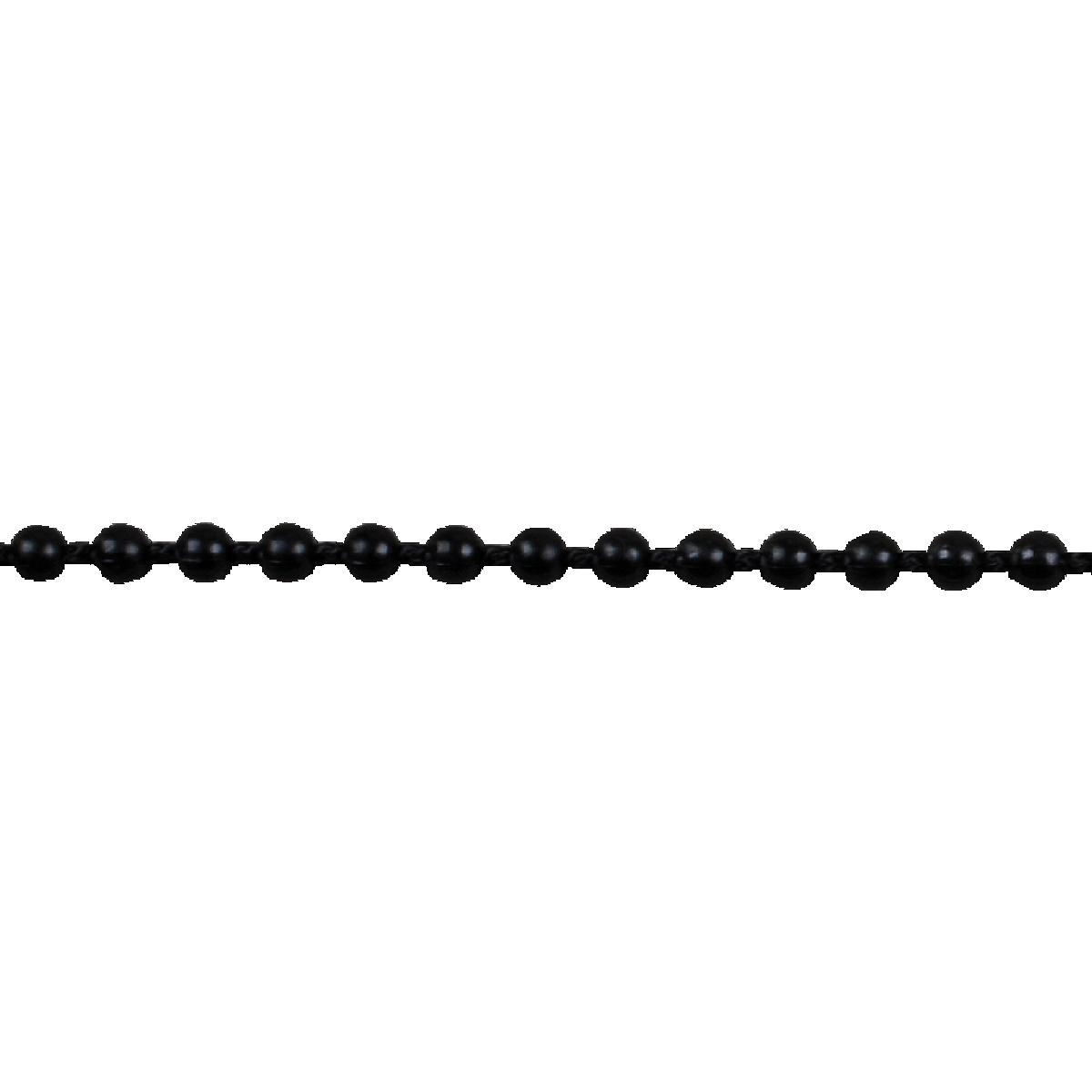 Continuous Plastic Bead Chain, 5' drop Black