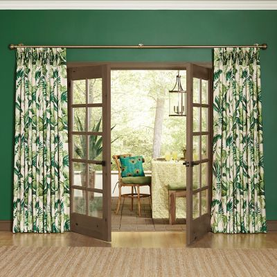 Tropical Traverse Drapery Panels with a Two-Finger Pinch Pleat Header