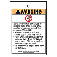 Safety Warning Tag - Cord Shrouds