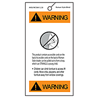 Safety Warning Tag for Roman Shade Lift Cord
