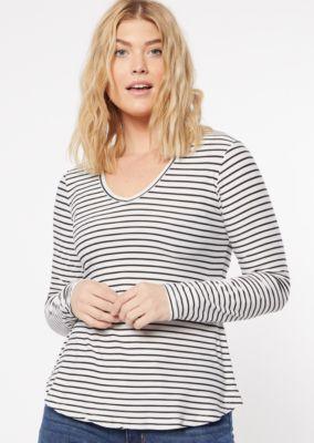 White Striped Print V Neck Super Soft Top by Rue21