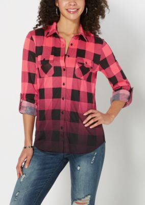 Neon Fuchsia Buffalo Check Knit Shirt