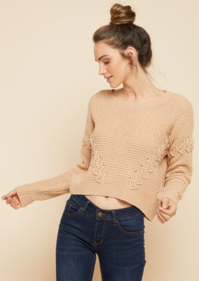 tan-lace-up-sleeve-skimmer-sweater by rue21