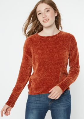 Burnt Orange Chenille Crew Neck Sweater by Rue21