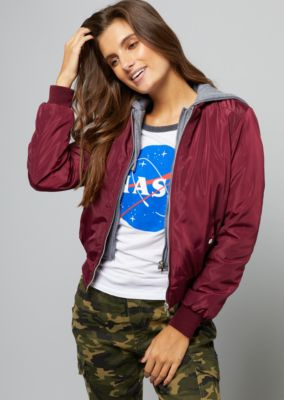 c8bf9b8fbc692 Shoptagr | Burgundy Hooded Double Zipper Bomber Jacket by Rue21