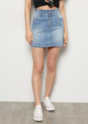 ab9c9bece4 Medium Wash Button Down Paperbag Waist Jean Skirt | Mini Skirts | rue21