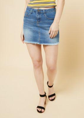 c4afe5202a Medium Wash Frayed Mini Jean Skirt | Mini Skirts | rue21