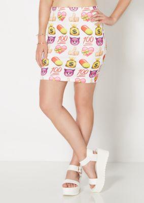 Emoji Scuba Knit Mini Skirt