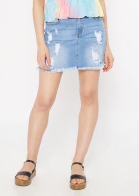 9fbc344d5b Light Wash Distressed Jean Mini Skirt | Mini Skirts | rue21