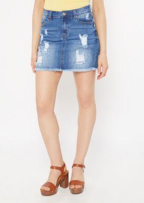 91fa41afe3 Medium Wash Distressed Jean Mini Skirt | Mini Skirts | rue21