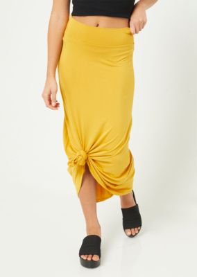 mustard-fold-over-band-maxi-skirt by rue21