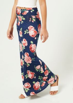 navy-floral-print-fold-over-band-maxi-skirt by rue21