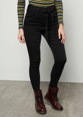 412b085808d Black Uber High Waisted Paperbag Waist Booty Jeans