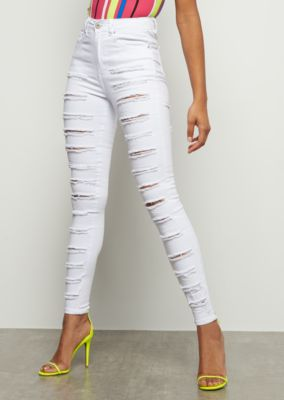 3c29f1ace67 Redfox White Heavy Destroyed High Waisted Jeggings