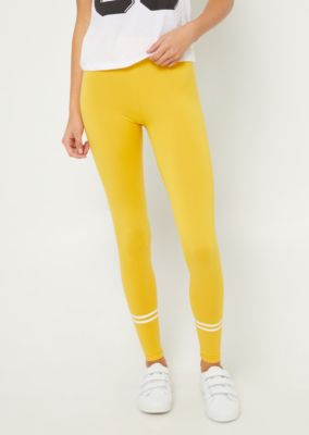 yellow-high-waisted-athletic-stripe-leggings by rue21