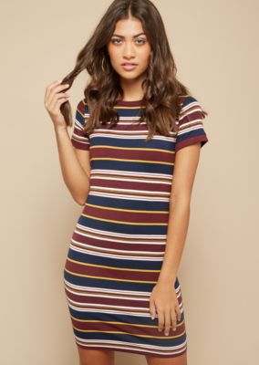6bbe66040c64 burgundy-striped-pattern-ribbed-neckline-t-shirt-dress by