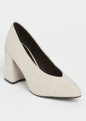 oatmeal-faux-suede-chunky-pumps by rue21