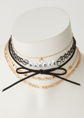 5 Pack Gold Baddie Tattoo Choker Necklace Set by Rue21