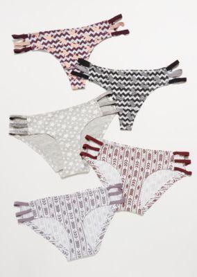 4d1b06bd4284 5-Pack Purple Chevron Glitter Caged Assorted Undies Set | Bikinis | rue21
