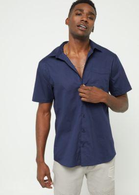 navy-short-sleeve-button-down-shirt by rue21