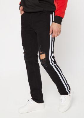 Black Side Striped Blown Knee Skinny Jeans by Rue21