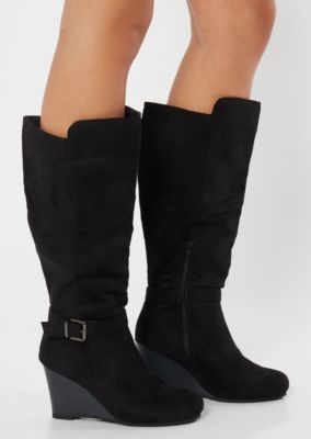 Black Faux Suede Buckle Wedge Knee High Boots by Rue21
