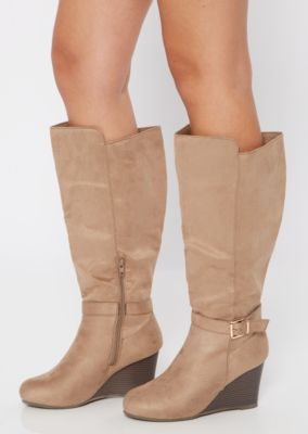 Taupe Faux Suede Buckle Wedge Knee High Boots by Rue21