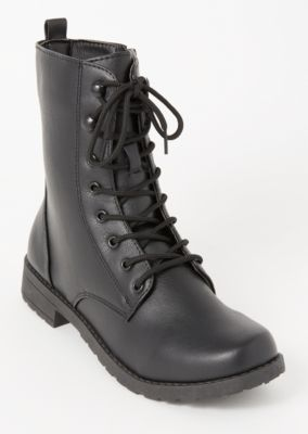 Black Faux Leather Lace Up Combat Boots by Rue21