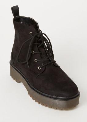Black Faux Suede Platform Combat Boots by Rue21
