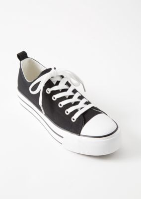 black-chunky-sole-canvas-low-top-sneakers by rue21