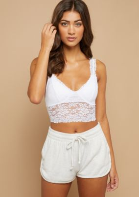 b0632ddc80 White Scoop Neck Floral Lace Bralette