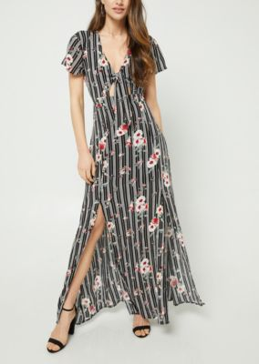 navy-floral-print-knotted-maxi-dress by rue21