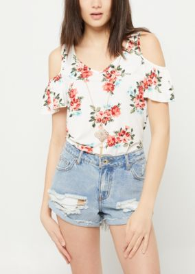 ea05b52cbe6a0 RUE21. WHITE FLORAL PRINT COLD SHOULDER NECKLACE TOP