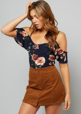 Navy Floral Print Ruffled Cold Shoulder Bodysuit by Rue21