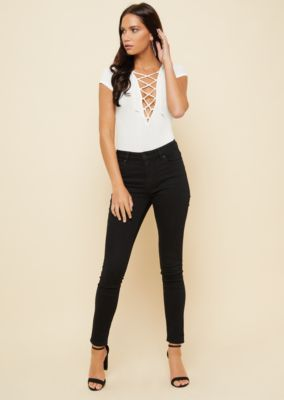 5a4090d74b01 RUE21. WHITE RIBBED KNIT LACE UP DEEP PLUNGE BODYSUIT