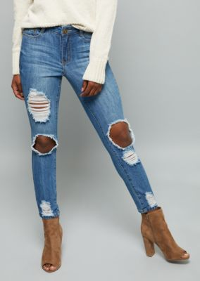 1024d176dd4 Medium Wash High Waisted Distressed Premium Ankle Jeggings ...