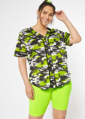 a81cb876 Plus Neon Green Camo Print Hustle Graphic Jersey Tee | Plus Graphic Tees |  rue21
